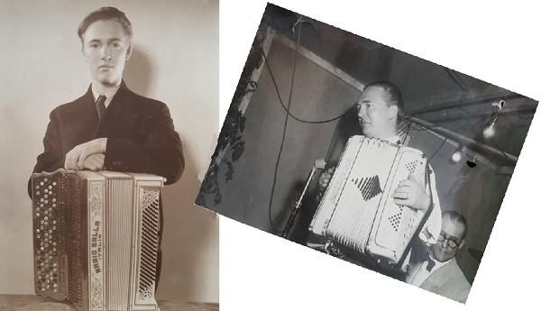Werners orkester_Werner med sitt dragspel som ung och äldre_600
